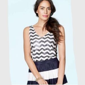 J. Crew sequined tank with chevron stripes